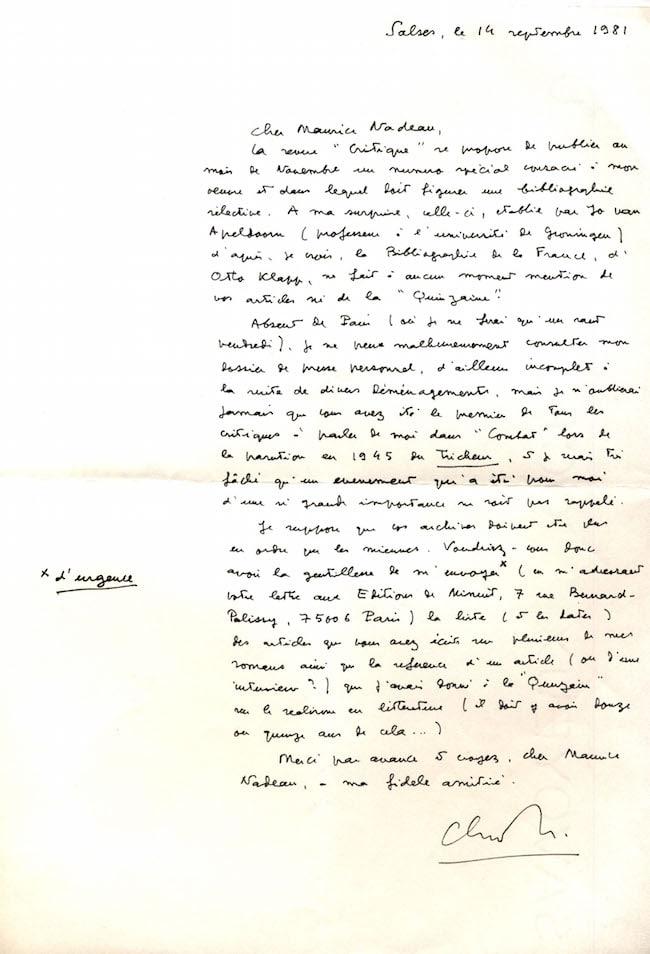 Lettre de Claude Simon à Maurice Nadeau, 14 septembre 1981.