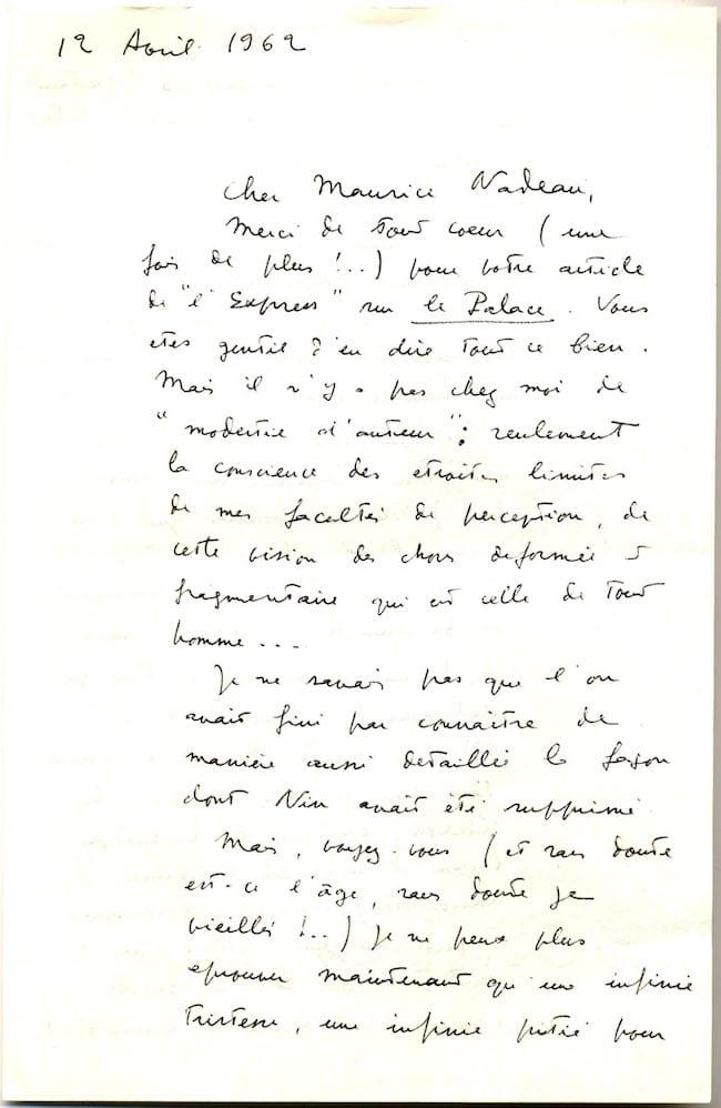 Lettre de Claude Simon à Maurice Nadeau, 12 avril 1962