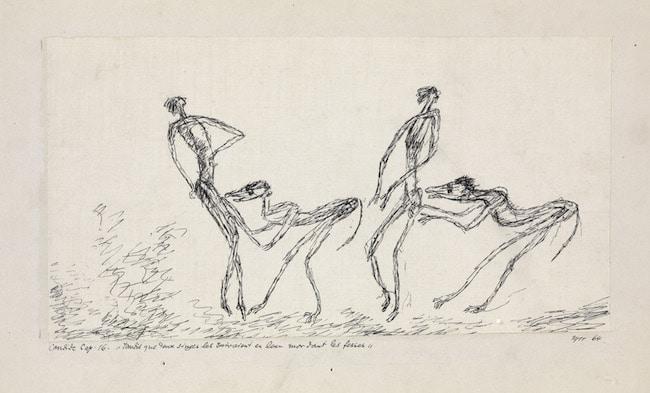 """Candide Chap. 16. """"tandis que deux singes les suivaient en leur mordant les fesses"""". 1911. © Zentrum Paul Klee."""