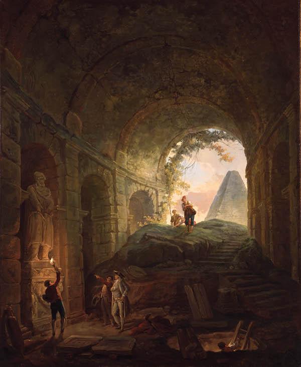 Hubert Robert. Les Découvreurs d'antiques. Vers 1765. Huile sur toile. 81x67 cm. Valence, musée de Valence © Musée de Valence, Photo Philippe Petiot.