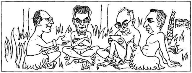 Michel Foucault, Jacques Lacan, Claude Levi-Strauss et Roland Barthes à Cuba. Caricature de Maurice Henry, p. 250