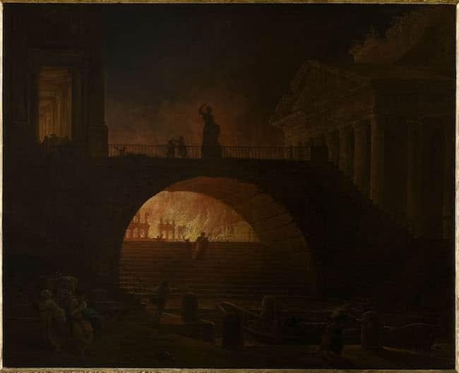 Hubert Robert, L'Incendie de Rome. Vers 1771. Huile sur toile. 75x93 cm. Le Havre, musée d'Art moderne André Malraux © MuMa Le Havre / Florian Kleinefenn.
