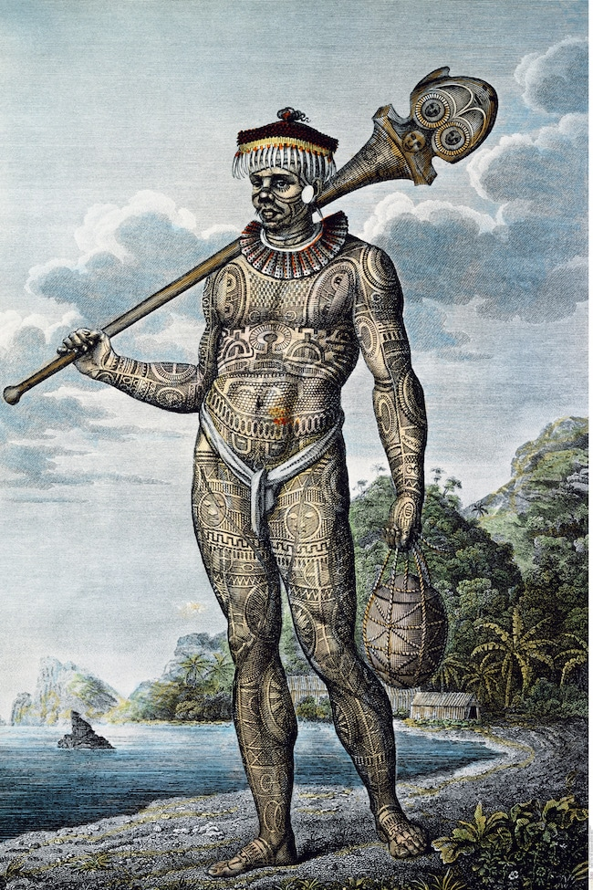 Native of Nukahiva Island – Homme de Nuku Hiva. Krusenstern, 1813, Atlas, pl. 8. Musée du quai Branly, Paris.
