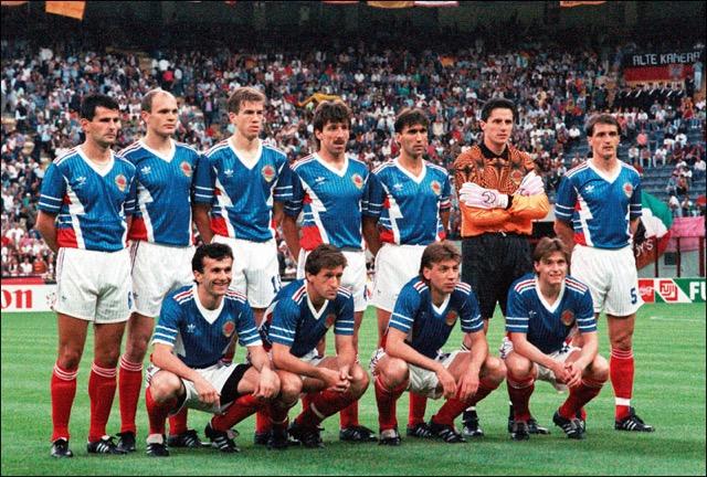 L'équipe de Yougoslavie lors de la Coupe du Monde de football 1990 en Italie.