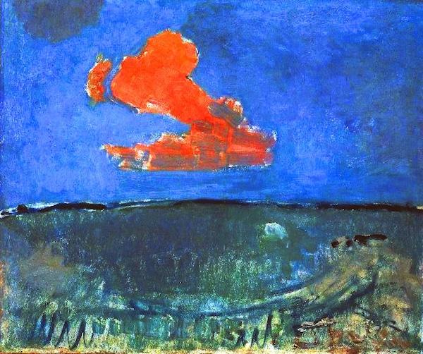 Paysage avec nuage rouge de Piet Mondrian (1907 ou 1908), conservé au Gemeentemuseum de la Haye.