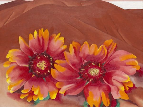 Georgia O'Keeffe, Red Hills with Flowers