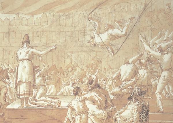 Giandomenico Tiepollo, Polichinelle trapéziste (scène 46), vers 1798-1804. Collection particulière