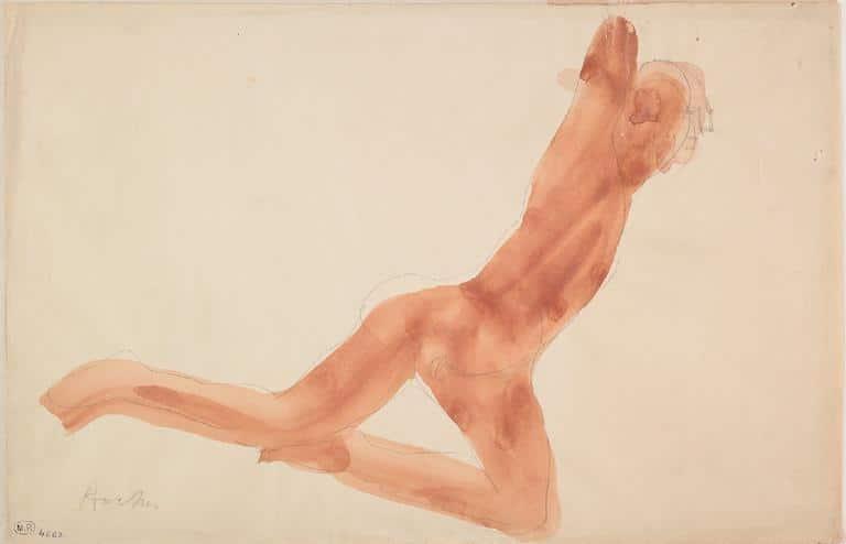 Rocher, femme nue, un genou en terre et tendue vers la droite par Auguste Rodin. © Musée Rodin