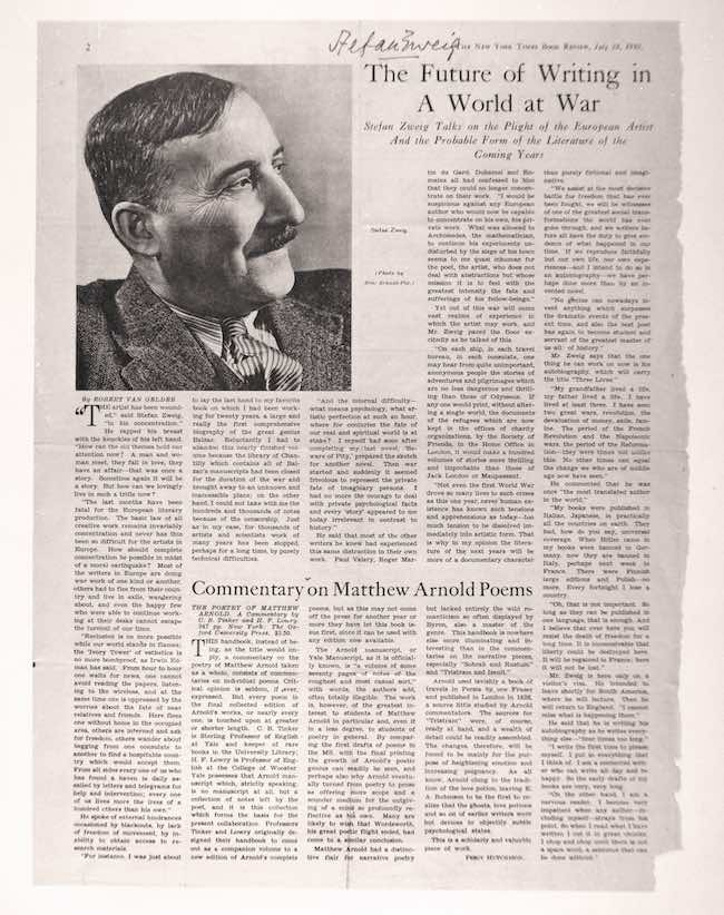 Stefan Zweig, L'esprit européen en exil. Essais, discours, entretiens 1933-1942