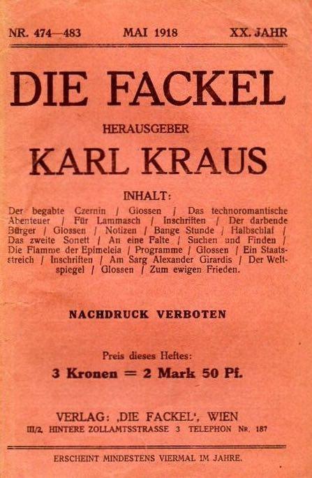 Le numéro des numéros 100 : Die Fackel, la Vienne de Karl Kraus