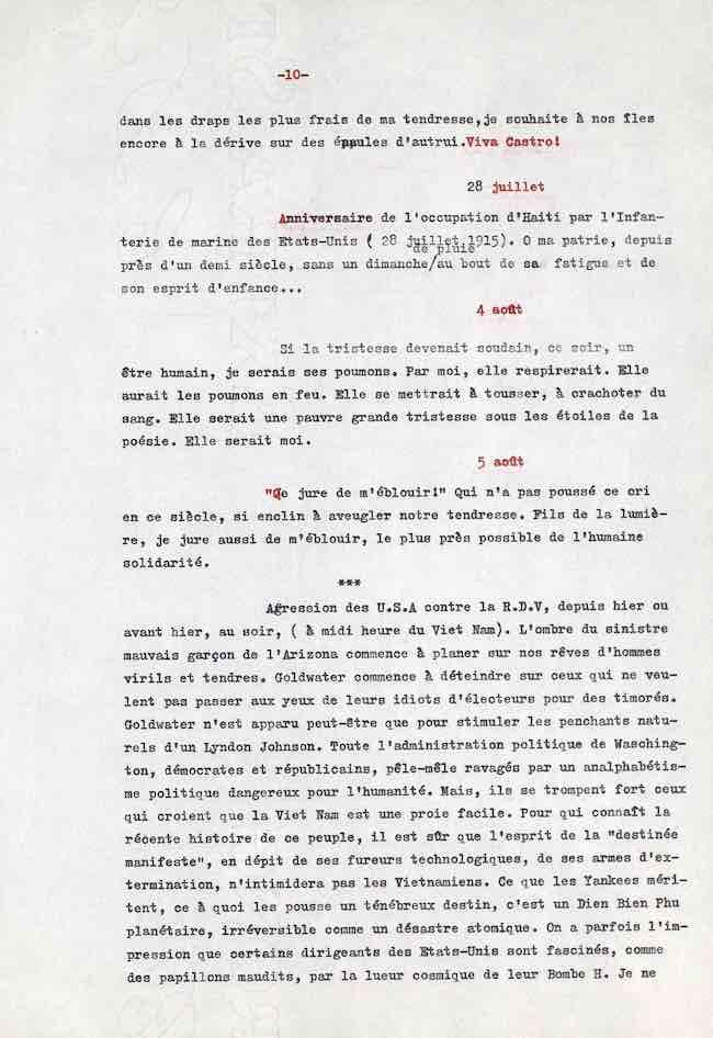 René Depestre, Cahier d'un art de vivre