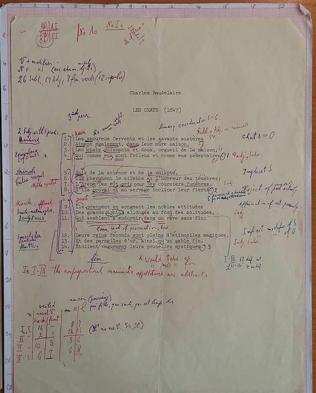 Archives et manuscrits (8) : Lévi-Strauss et Jakobson face à Baudelaire